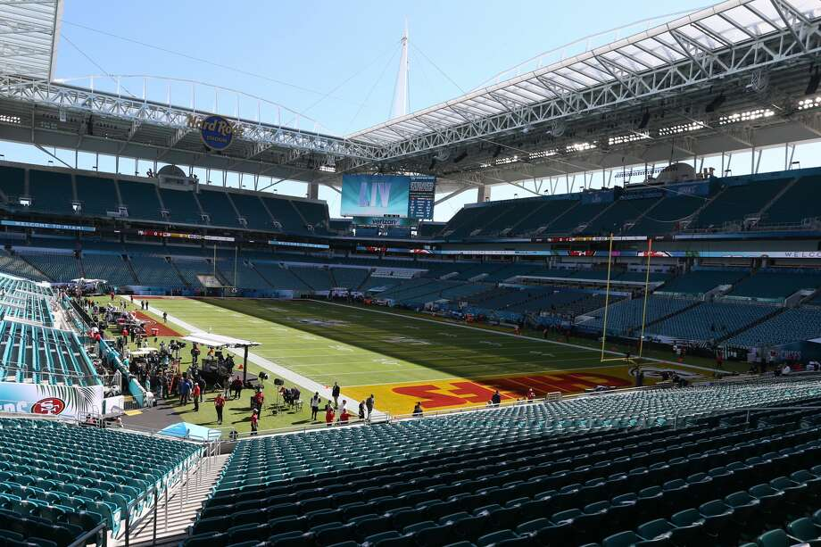 A general view of the field and Hard Rock Stadium prior to Super Bowl LIV on February 2, 2020 at Hard Rock Stadium in Miami Gardens, FL. (Photo by Rich Graessle/PPI/Icon Sportswire via Getty Images) Photo: Icon Sportswire/Icon Sportswire Via Getty Images