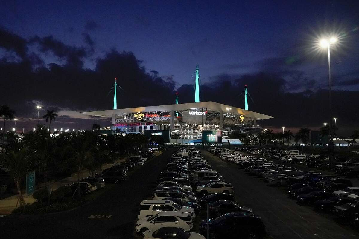 Hard Rock Stadium, site of the NFL Super Bowl 54 football game between the Kansas City Chiefs and the San Francisco 49ers is seen Thursday, Jan. 30, 2020, in Miami Gardens, Fla. (AP Photo/Morry Gash)