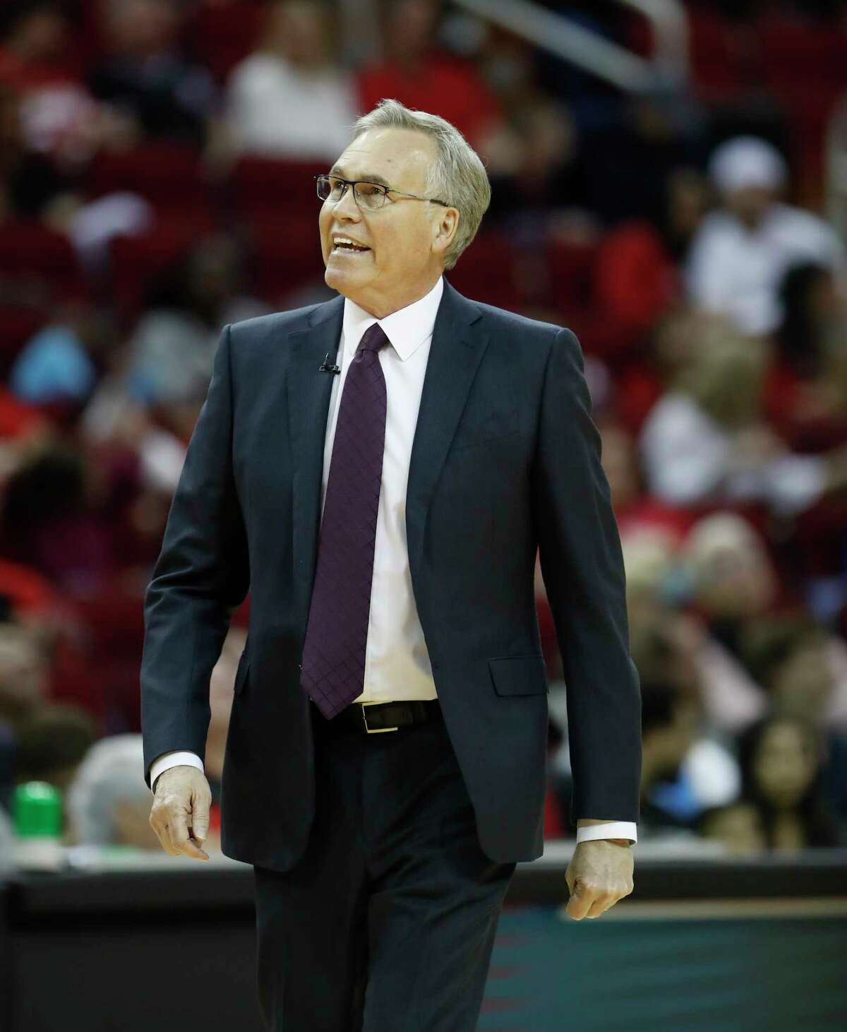 Houston Rockets head coach Mike D'Antoni during the first half of an NBA basketball game at Toyota Center in Houston, Sunday, Feb. 2, 2020.