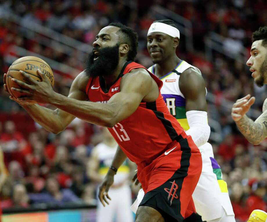 Houston Rockets guard James Harden (13) goes up for the basket against New Orleans Pelicans guard Lonzo Ball (2) during the first half of an NBA basketball game at Toyota Center in Houston, Sunday, Feb. 2, 2020. Photo: Karen Warren, Staff Photographer / © 2020 Houston Chronicle