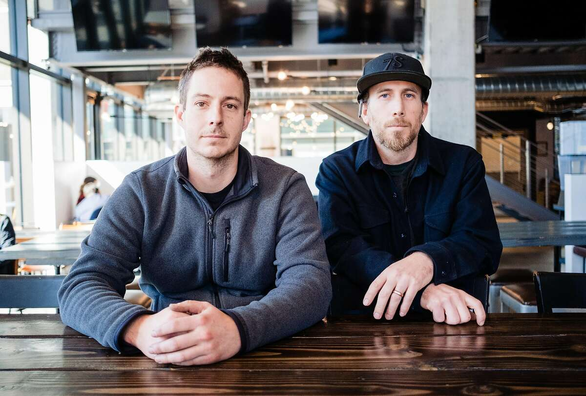 Tim Obert (left) and Clint Potter the founders of Seven Stills Brewery pose for a photograph at the new Seven Stills Brewery in San Francisco, Calif. on Friday January 31, 2020.