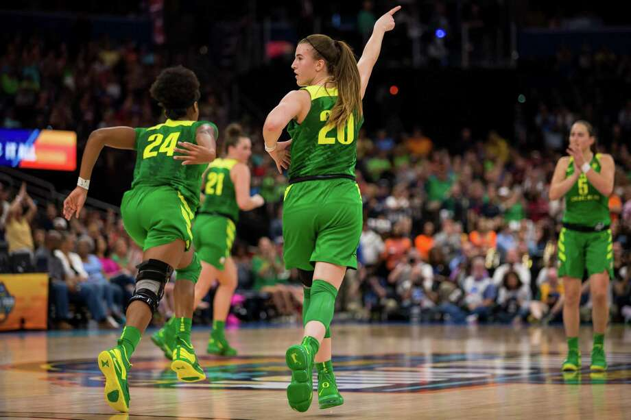 Oregon guard Sabrina Ionescu (20) celebrates a 3-pointer in the NCAA Women's Division I Championship Final Four game against Baylor on April 5, 2019 at Amelie Arena in Tampa, FL. Photo: Icon Sportswire / Icon Sportswire Via Getty Images / ©Icon Sportswire (A Division of XML Team Solutions) All Rights Reserved
