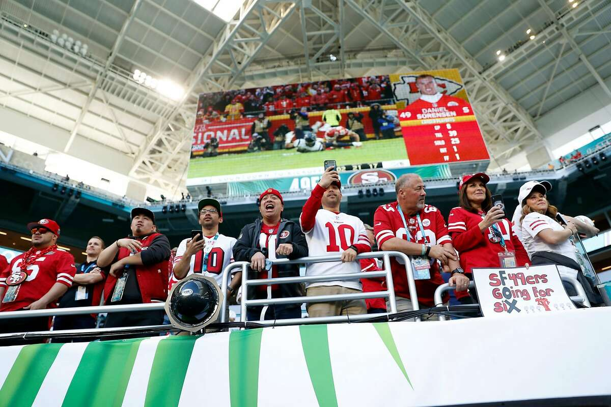San Francisco 49ers' fans cheer for Jimmy Garoppolo before Niners play Kansas City Chiefs in Super Bowl LIV at Hard Rock Stadium in Miami Gardens, Florida, on Sunday, February 2, 2020.