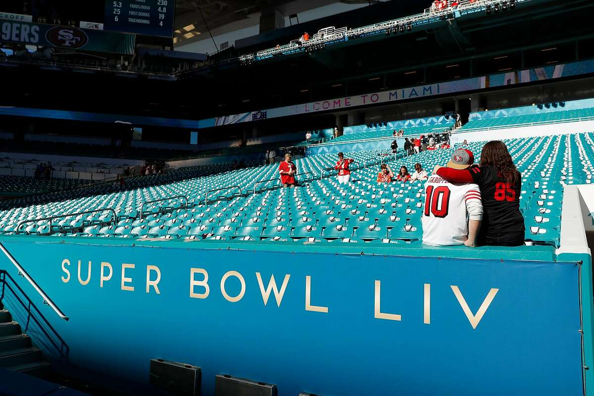 San Francisco 49ers and Kansas City Chiefs' fans before Super Bowl LIV at Hard Rock Stadium in Miami Gardens, Florida, on Sunday, February 2, 2020.