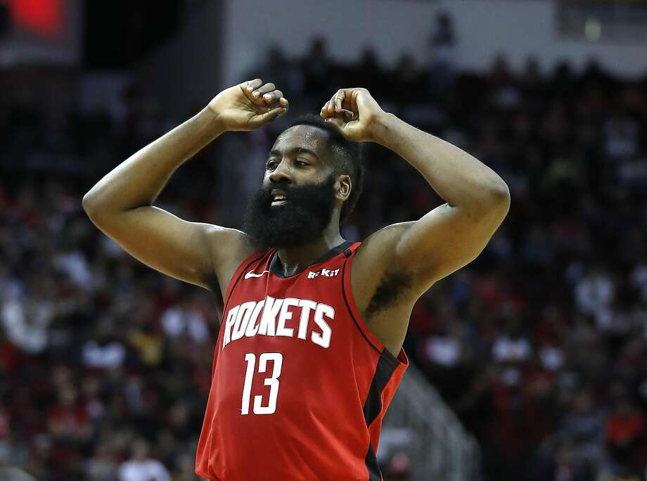 Rockets guard James Harden had 40 points and came an assist shy of a triple-double. Photo: Karen Warren / Houston Chronicle