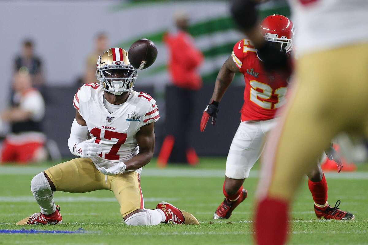 Emmanuel Sanders #17 of the San Francisco 49ers catches a pass against the Kansas City Chiefs during the second quarter in Super Bowl LIV at Hard Rock Stadium on February 02, 2020 in Miami, Florida. (Photo by Jamie Squire/Getty Images)