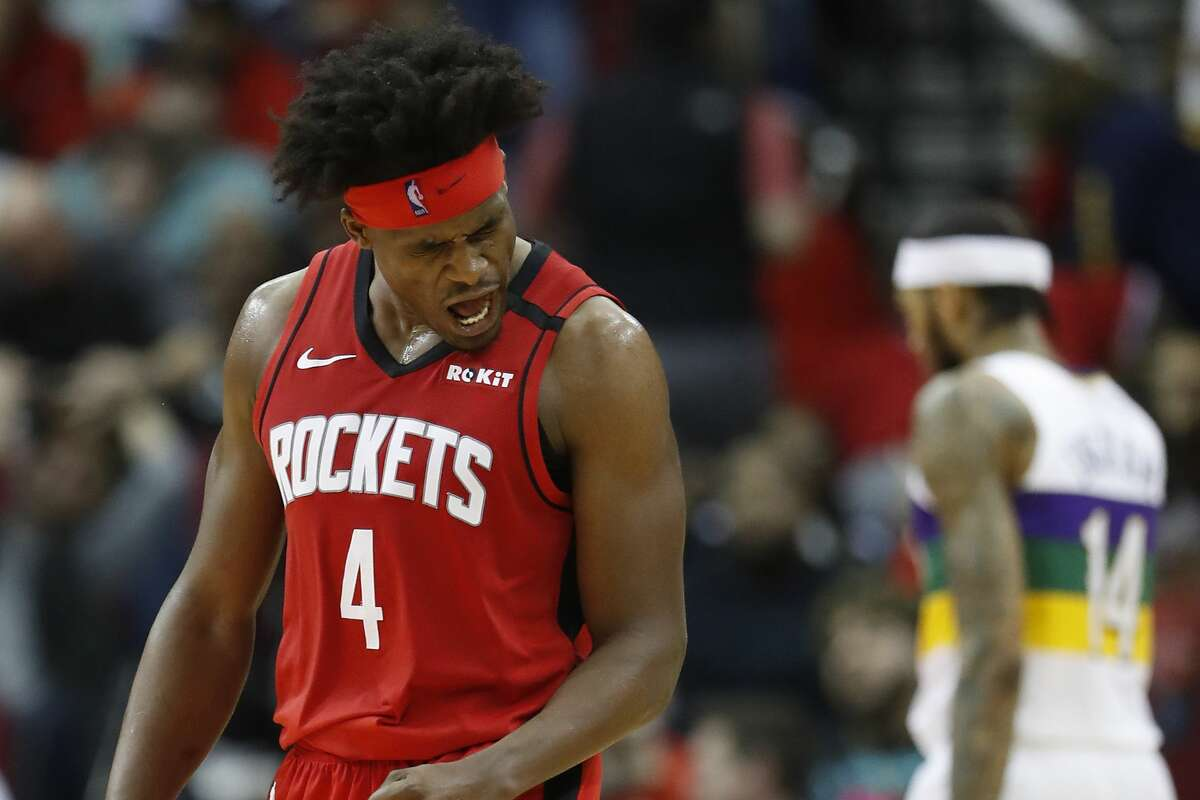 Houston Rockets forward Danuel House Jr. (4) reacts after shooting a three-pointer that solidified the Rockets lead over the New Orleans Pelicans during the second half of an NBA basketball game at Toyota Center in Houston, Sunday, Feb. 2, 2020.
