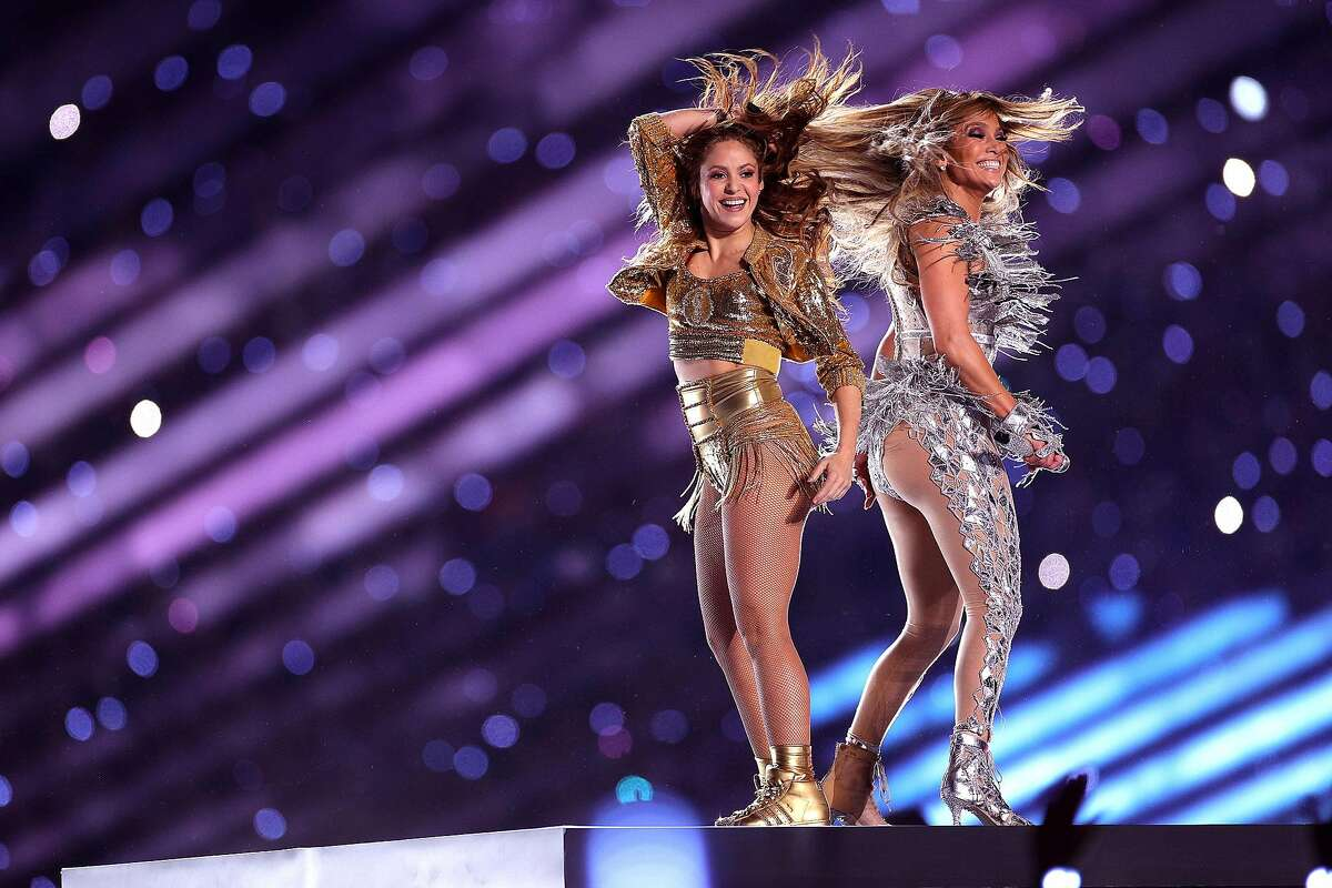 Singers Shakira and Jennifer Lopez perform during the Pepsi Super Bowl LIV Halftime Show at Hard Rock Stadium on February 02, 2020 in Miami, Florida. (Photo by Maddie Meyer/Getty Images)