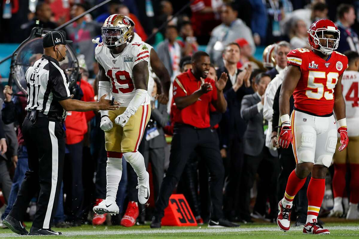 San Francisco 49ers' Deebo Samuel reacts after a catch and run for long yardage in the first quarter during Super Bowl LIV between the San Francisco 49ers and the Kansas City Chiefs at Hard Rock Stadium on Sunday, Feb. 2, 2020 in Miami Gardens, Fla.