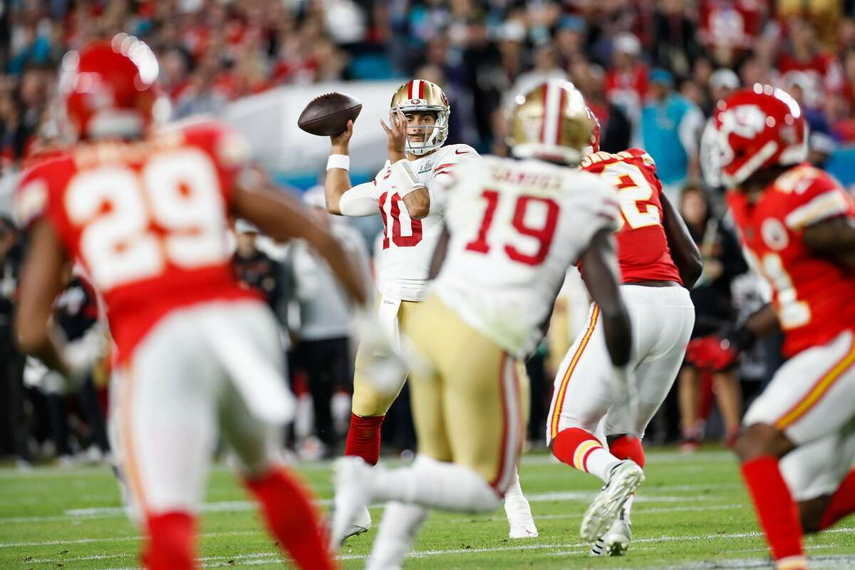 San Francisco 49ers' Jimmy Garoppolo prepares to pass to Deebo Samuel in the first quarter during Super Bowl LIV between the San Francisco 49ers and the Kansas City Chiefs at Hard Rock Stadium on Sunday, Feb. 2, 2020 in Miami Gardens, Fla.