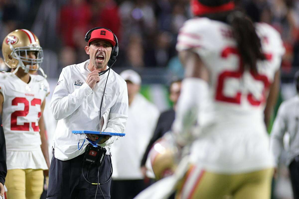 Head coach Kyle Shanahan of the San Francisco 49ers reacts against the Kansas City Chiefs during the second quarter in Super Bowl LIV at Hard Rock Stadium on February 02, 2020 in Miami, Florida. (Photo by Maddie Meyer/Getty Images)