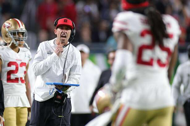 MIAMI, FLORIDA - FEBRUARY 02: Head coach Kyle Shanahan of the San Francisco 49ers reacts against the Kansas City Chiefs during the second quarter in Super Bowl LIV at Hard Rock Stadium on February 02, 2020 in Miami, Florida. (Photo by Maddie Meyer/Getty Images)