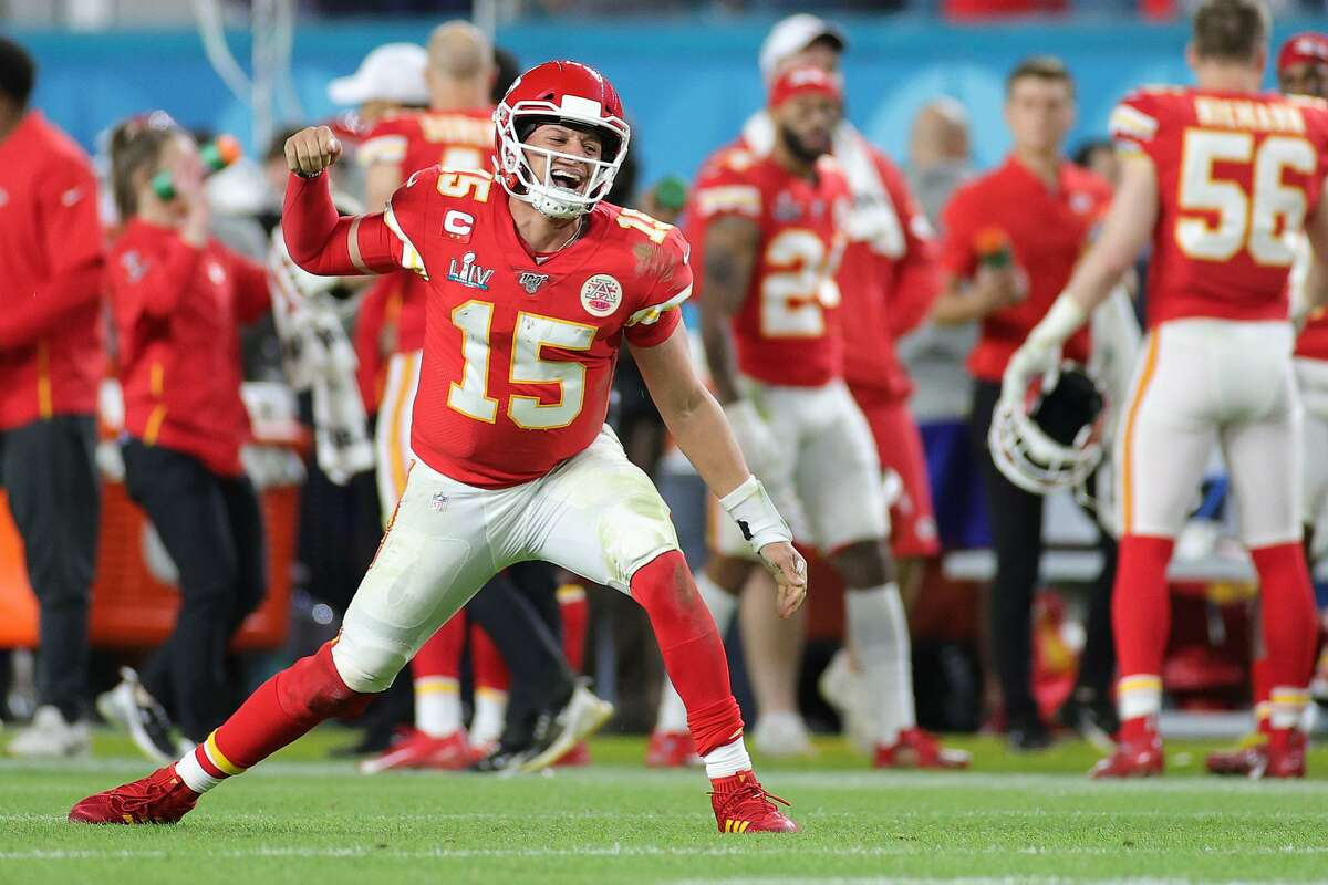 Patrick Mahomes #15 of the Kansas City Chiefs celebrates after throwing a touchdown pass against the San Francisco 49ers during the fourth quarter in Super Bowl LIV at Hard Rock Stadium on February 02, 2020 in Miami, Florida. (Photo by Maddie Meyer/Getty Images)