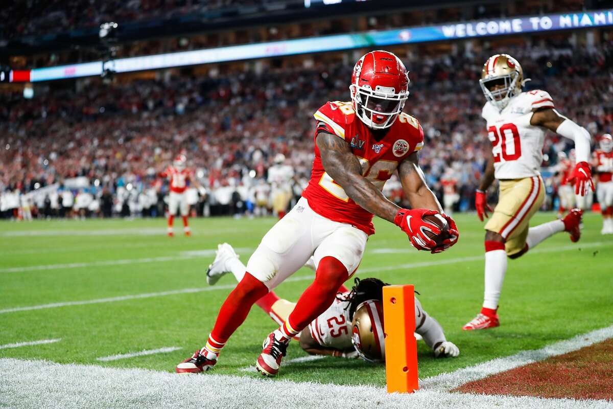 Kansas City Chiefs' Damien Williams reaches for a touchdown in the fourth quarter during Super Bowl LIV between the San Francisco 49ers and the Kansas City Chiefs at Hard Rock Stadium on Sunday, Feb. 2, 2020 in Miami Gardens, Fla.