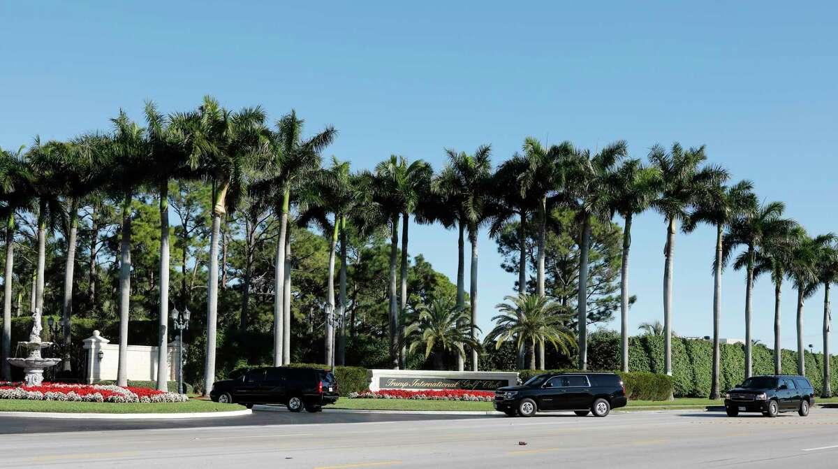 The motorcade carrying President Donald Trump arrives at Trump International Golf Club, Sunday, Feb. 2, 2020, in West Palm Beach, Fla. (AP Photo/Terry Renna)