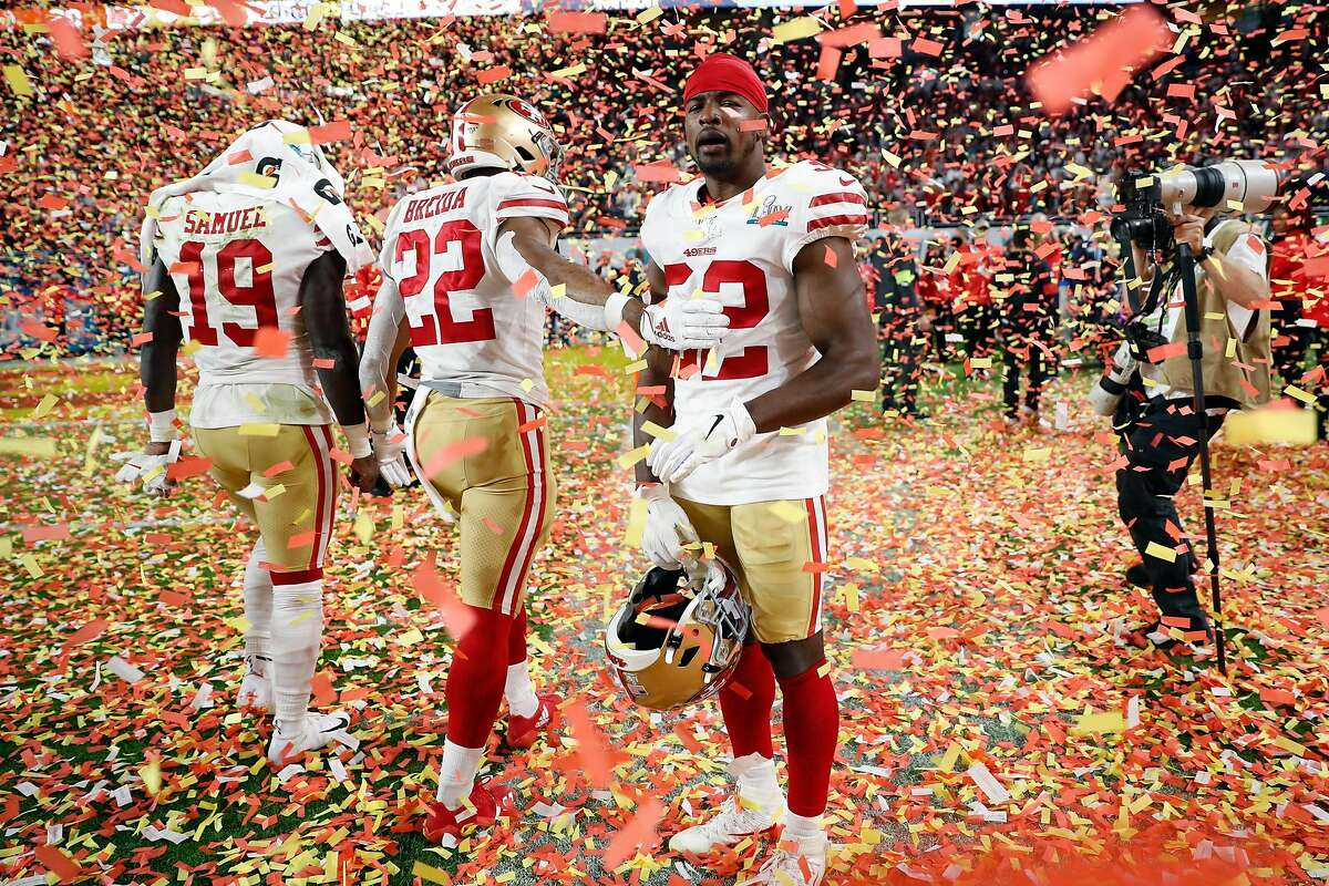 San Francisco 49ers' DJ Reed, Jr., Matt Breida and Deebo Samuel after 31-20 loss to Kansas City Chiefs in Super Bowl LIV at Hard Rock Stadium in Miami Gardens, Florida, on Sunday, February 2, 2020.