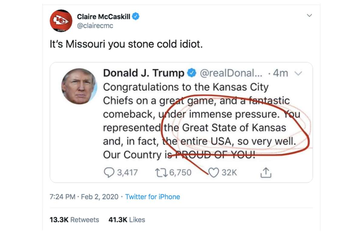 President Donald Trump tweeted congratulations to the state of Kansas after the Chiefs' Super Bowl win. The Chiefs play in Missouri.