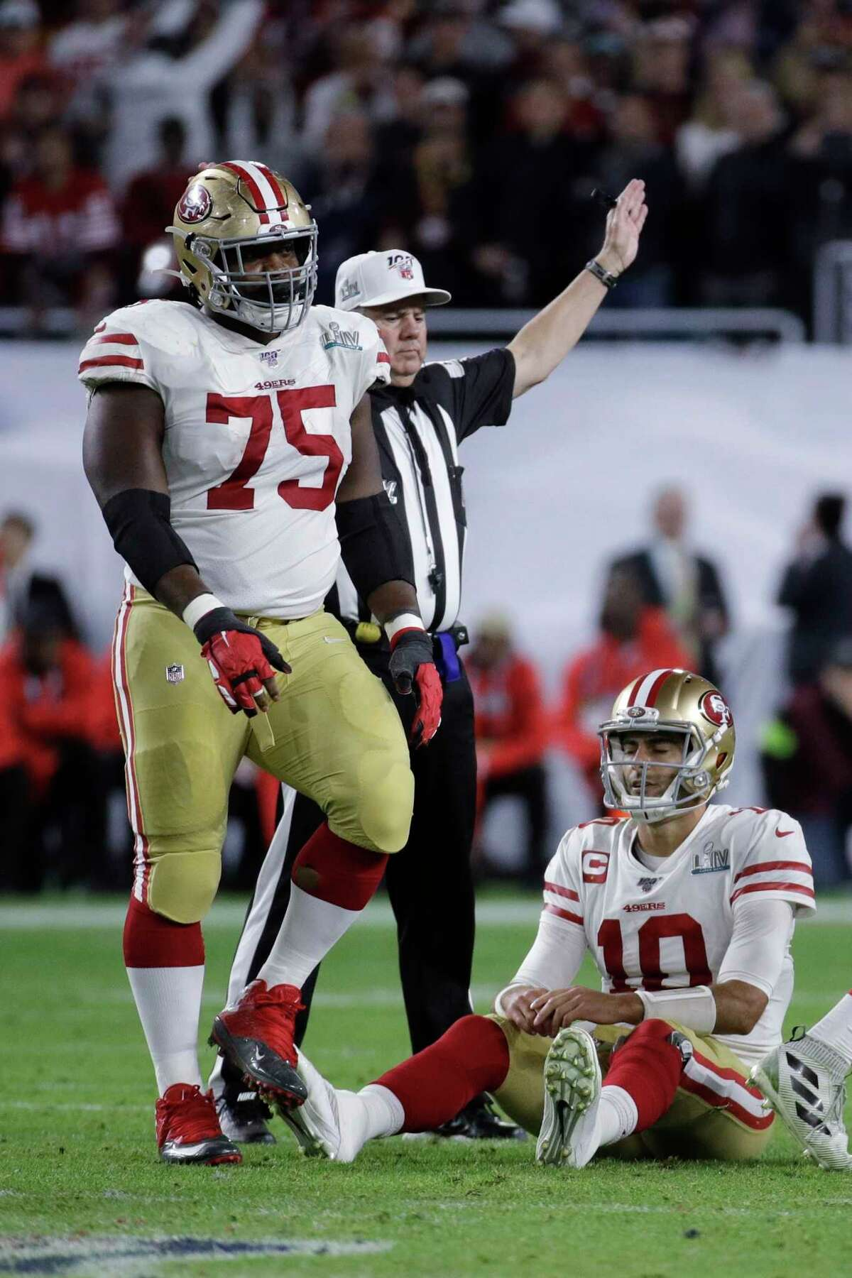 San Francisco 49ers quarterback Jimmy Garoppolo (10) reacts after turning the ball over on downs during the second half of the NFL Super Bowl 54 football game against the Kansas City Chiefs Sunday, Feb. 2, 2020, in Miami Gardens, Fla. (AP Photo/Patrick Semansky)