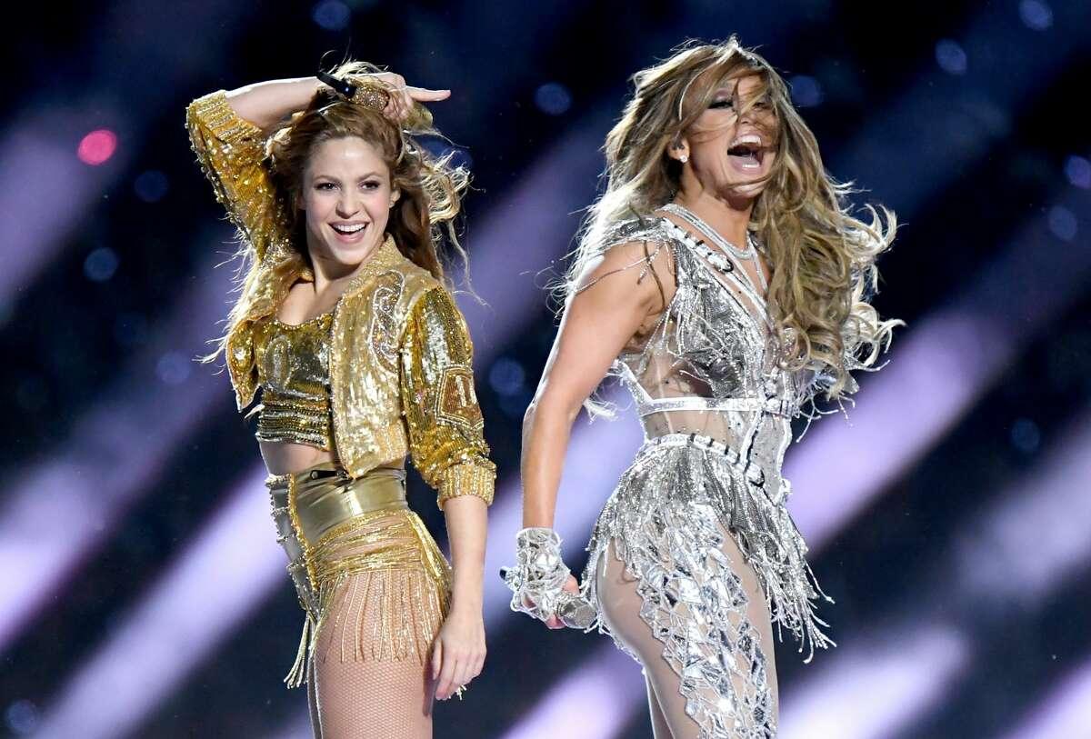MIAMI, FLORIDA - FEBRUARY 02: Shakira and Jennifer Lopez perform onstage during the Pepsi Super Bowl LIV Halftime Show at Hard Rock Stadium on February 02, 2020 in Miami, Florida. (Photo by Jeff Kravitz/FilmMagic)