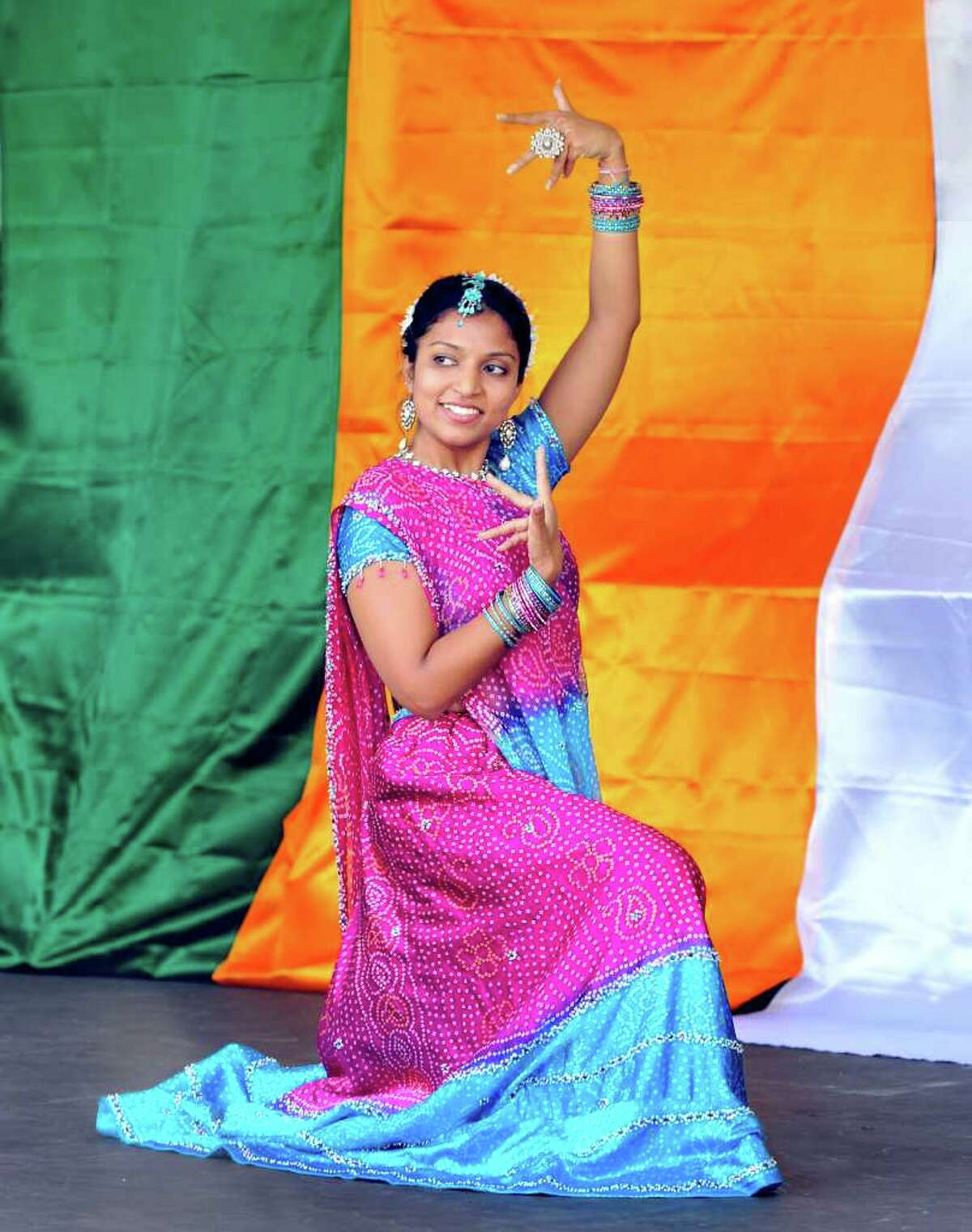 Megha Gupta, 25, of Danbury, performs during the Jai Ho Festival sponsored by the Indian Association of Western Connecticut, on the Danbury Green, Saturday, Aug. 14, 2010.