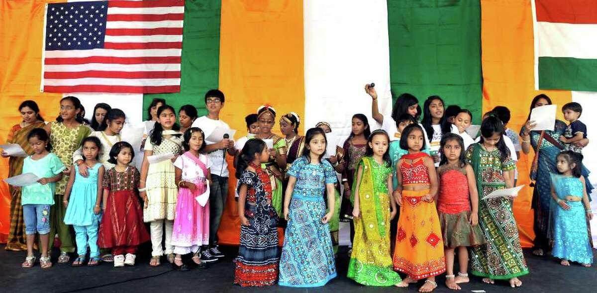 """The """"Childern of Danbury"""" sing the national anthem during the Jai Ho Festival sponsored by the Indian Association of Western Connecticut, Saturday, Aug. 14, 2010."""