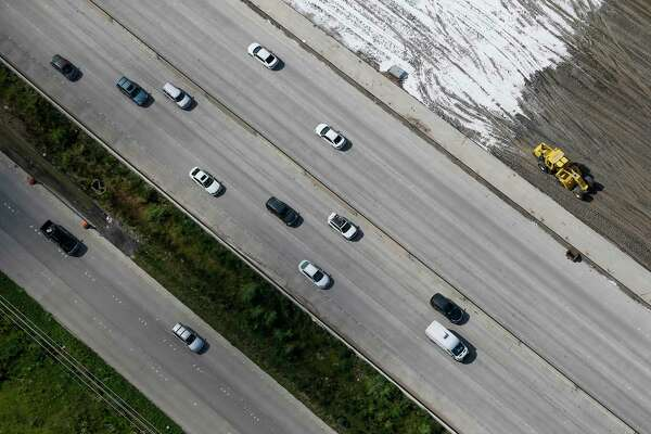 Aerial view of cars driving next to construction on Interstate 45 on Sept. 7, 2016.