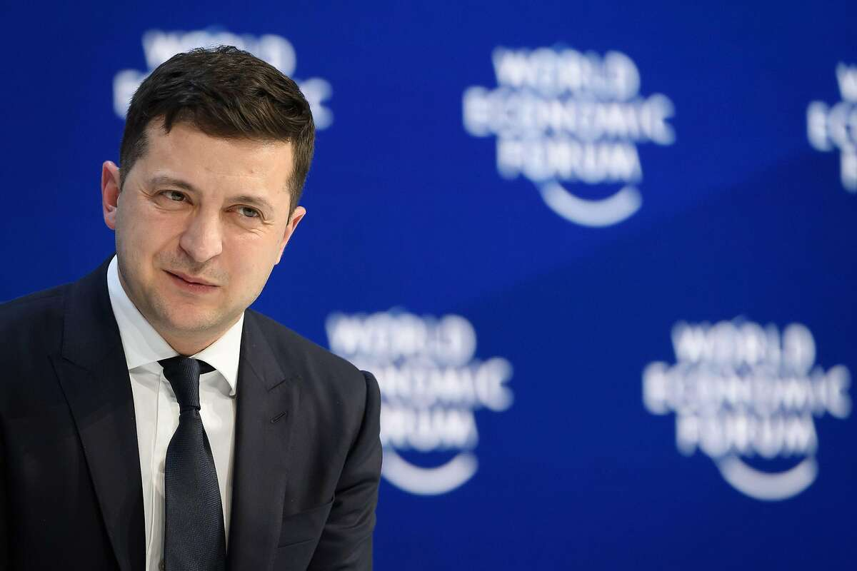 (FILES) In this file photo Ukraine's President Volodymyr Zelensky delivers a speech at the World Economic Forum (WEF) annual meeting in Davos, on January 22, 2020. - In his first nine months as Ukrainian president, former comedian Volodymyr Zelensky has found himself at the centre of major international crises, including the US impeachment investigation and Iran's downing of a passenger jet. (Photo by Fabrice COFFRINI / AFP) (Photo by FABRICE COFFRINI/AFP via Getty Images)