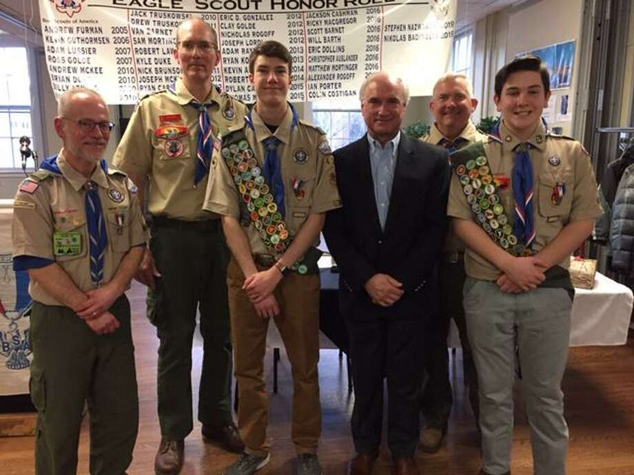 Steve Mortinger (Scoutmaster Troop 19), Dave Grove (Scoutmaster Troop 431), Stephen Nazworth (Eagle Scout), Rudy Marconi, Jim Pratt (Asst. Scoutmaster), Nik Badinelli (Eagle Scout). Photo: Contributed Photo