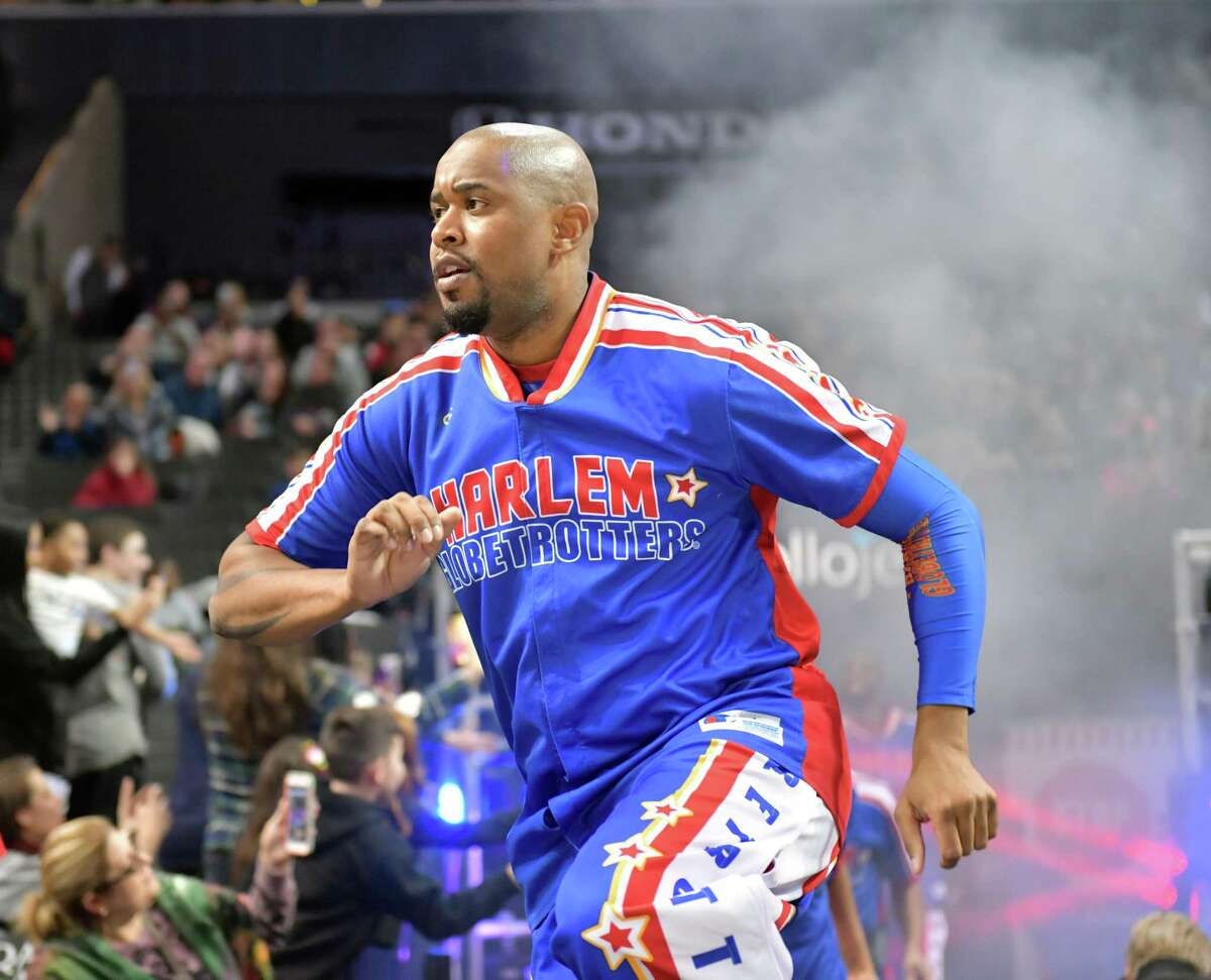 Scooter Christensen will be among the Harlem Globetrotters at Bridgeport's Webster Bank Arena Feb. 14 and 21, and at Hartford's XL Center, Feb. 15.