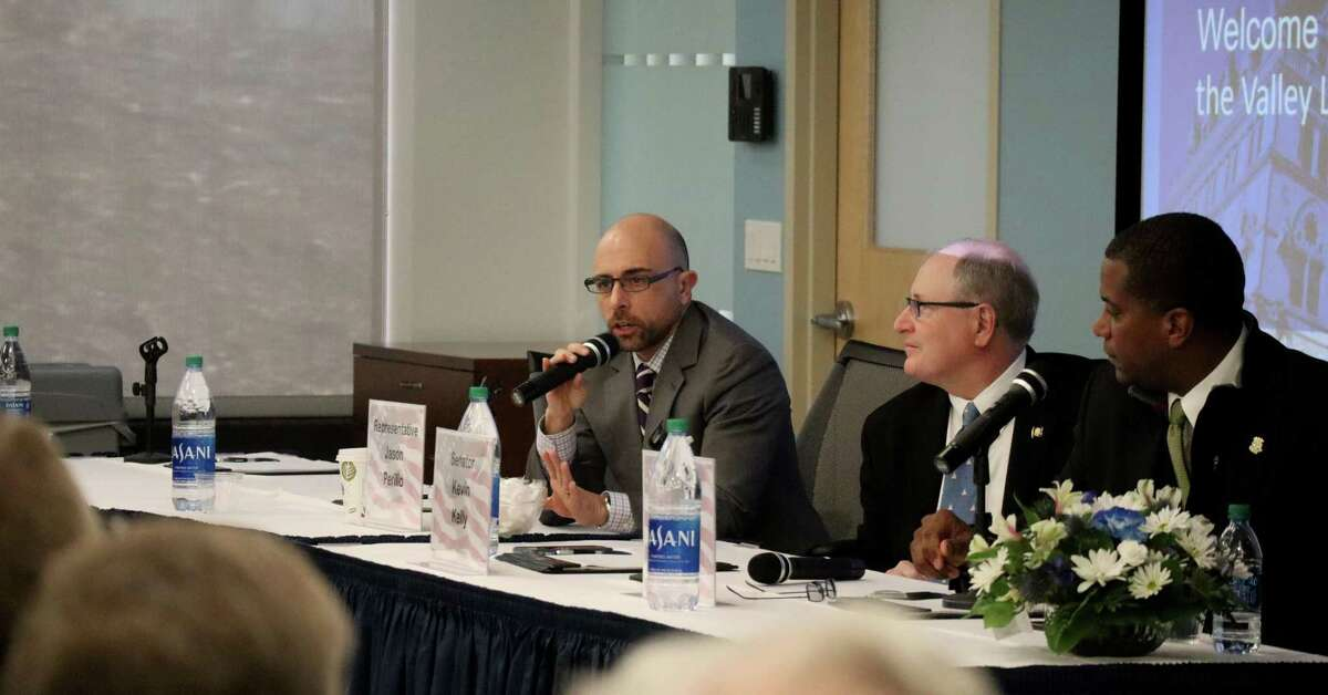 State Rep. Jason Perillo and state Sen. Kevin Kelly spoke at the Greater Valley Chamber of Commerce legislative breakfast on Friday, Jan. 31, at PerkinElmer in Shelton.