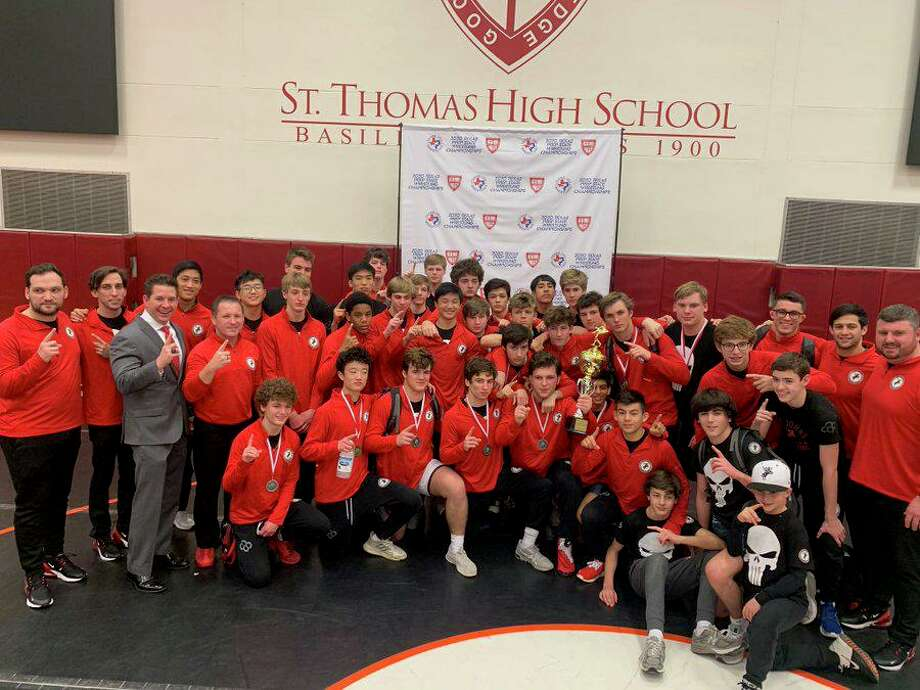 The St. John's School wrestling team repeated its team triumph at the Texas Prep State Championships, amassing 214.5 points for a 65-point margin of victory. Photo: St. John's School / St. John's School
