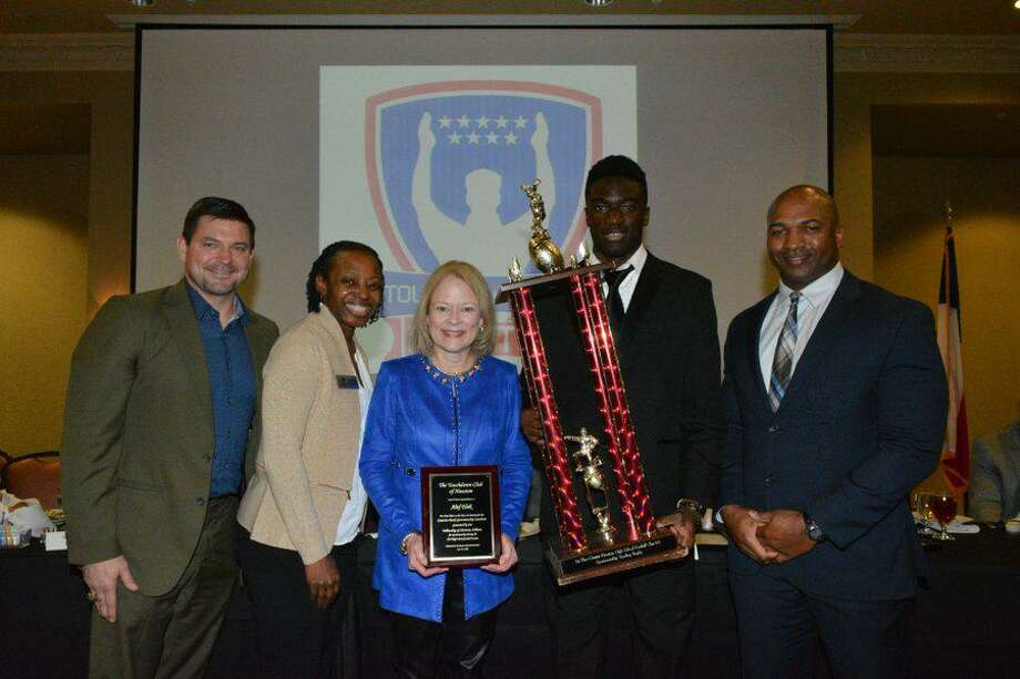 Alief Elsik won first place in the TD Club's Class 6A sportsmanship division on Jan. 29. Area high school football teams were judged by the referees who cover the games for unsportsmanlike fouls, personal fouls, respect for the American flag and on-field actions. Photo: Touchdown Club Of Houston / Touchdown Club Of Houston