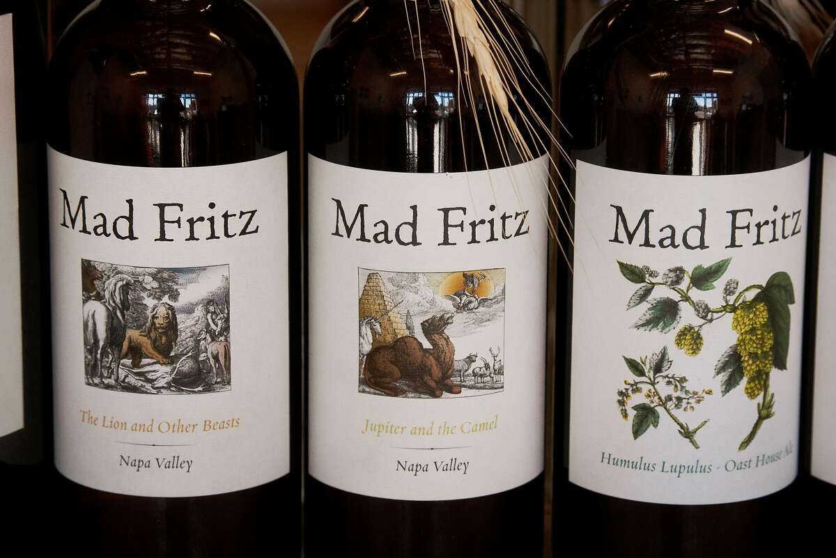 Artistic beer bottle labels at Mad Fritz Brewing Co. Taproom in St. Helena, Calif. on February 2, 2020.