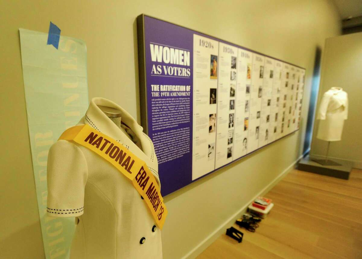 """""""An Unfinished Revolution: The Women's Suffrage Centennial"""" exhibition at the Greenwich Historical Society museum in Greenwich, Connecticut on Jan. 30, 2020."""