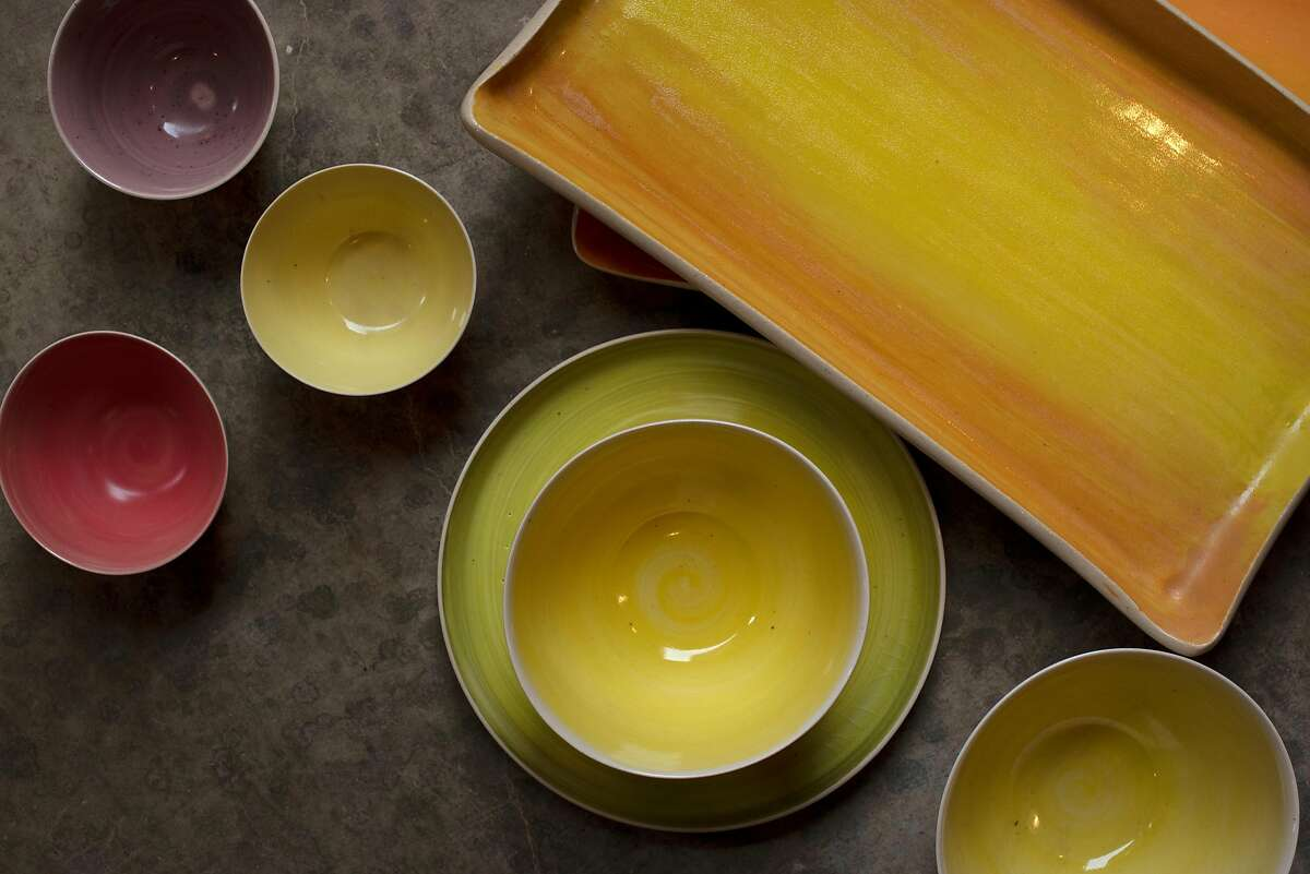 A selection of porcelain service wares created by NBC Pottery Napa Valley in Angwin, Calif. on January 30, 2020.