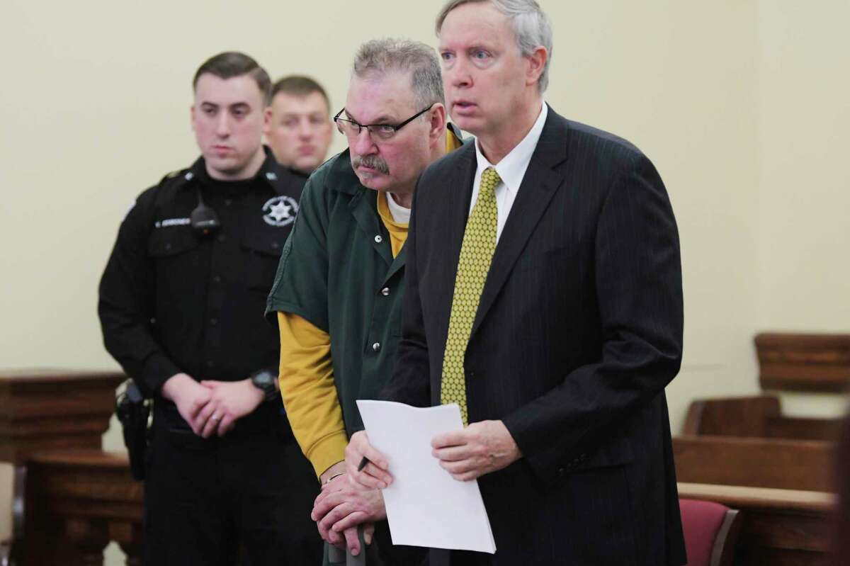 Dennis Lepage, left, of Brunswick appears in Rensselaer County Court with his lawyer, assistant public defender, Phil Landry on Monday, Feb. 3, 2020, in Troy, N.Y. LePagepleaded guilty Wednesday to killing a man in 1975 in San Diego.(Paul Buckowski/Times Union)