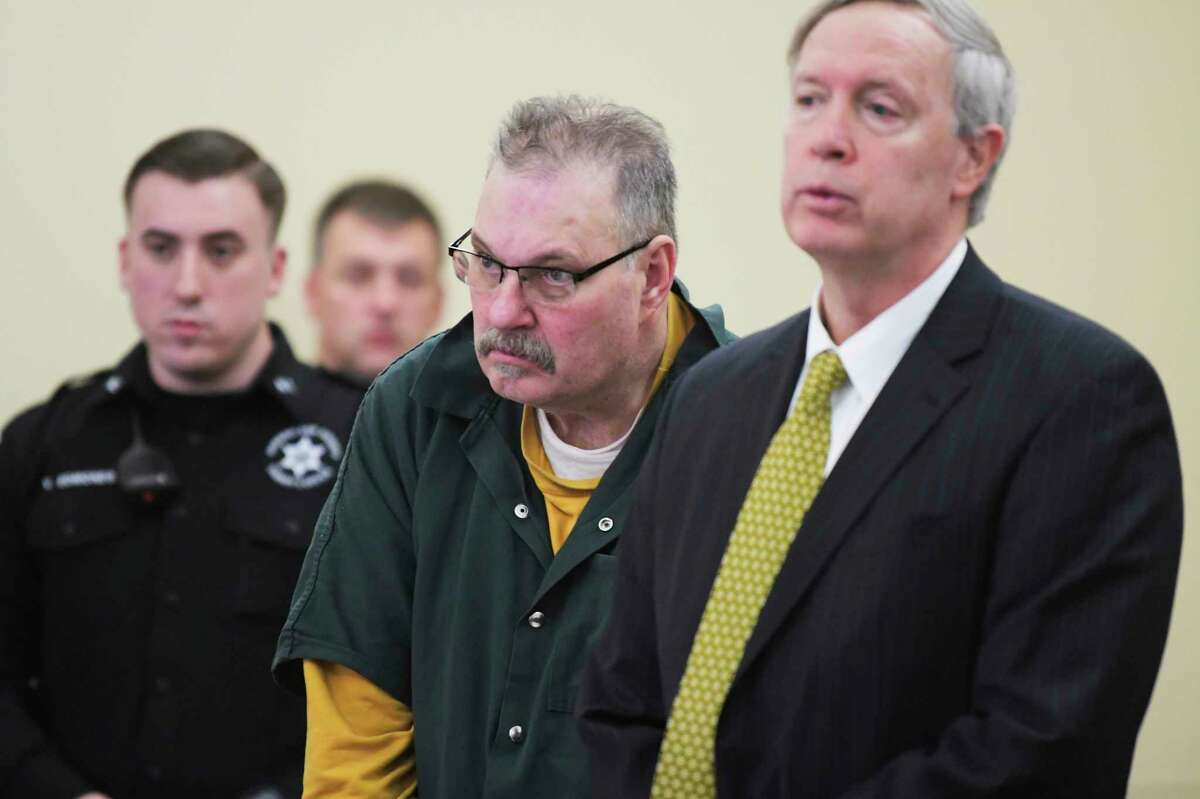 Dennis LePage, left, of Brunswick appears in Rensselaer County Court with his lawyer, assistant public defender, Phil Landry on Monday, Feb. 3, 2020, in Troy, N.Y. LePage is accused of killing a man in San Diego 44 years ago. (Paul Buckowski/Times Union)