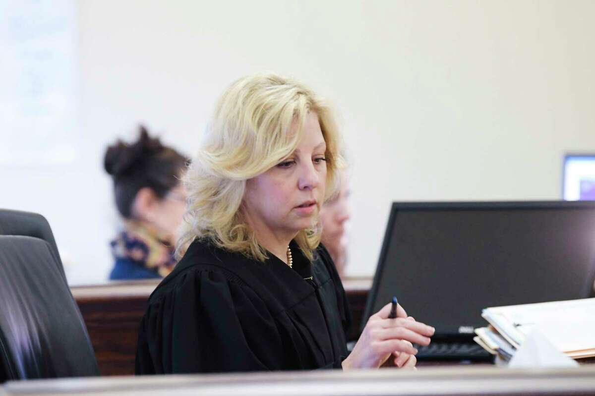Judge Jennifer Sober in Rensselaer County Court for a hearing on Dennis LePage on Monday, Feb. 3, 2020, in Troy, N.Y. LePage is accused of killing a man in San Diego 44 years ago. (Paul Buckowski/Times Union)