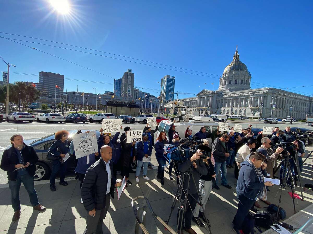 State Sen. Scott Wiener, D-San Francisco, holds a press conference on the steps of the state building in San Francisco's Civic Center Plaza on Monday, Feb. 3, 2020. Wiener is authoring a bill that would turn PG&E into a publicly owned utility.