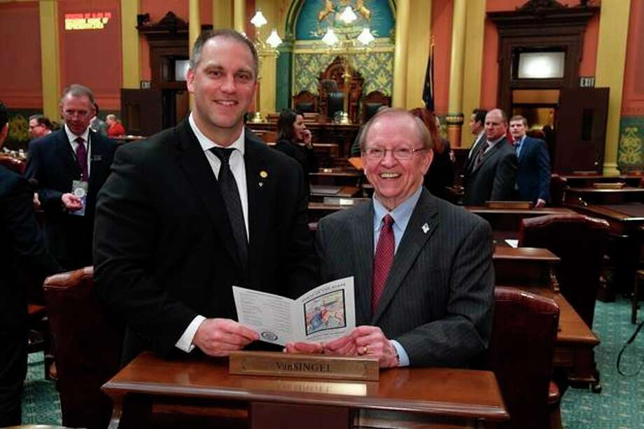 State Rep. Scott VanSingel, of Grant, attended the governor's annual State of the State address and was joined by president and CEO of The Berean Group, Bill Johnson. VanSingel represents the residents of Lake, Oceana and Newaygo counties. (Courtesy photo)