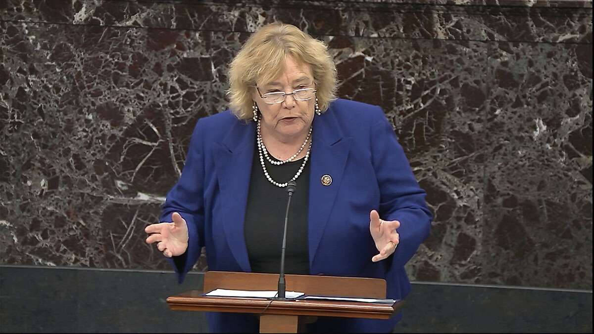 An image from video shows House impeachment manager Rep. Zoe Lofgren, D-San Jose, addressing senators during closing arguments in the trial of President Trump.