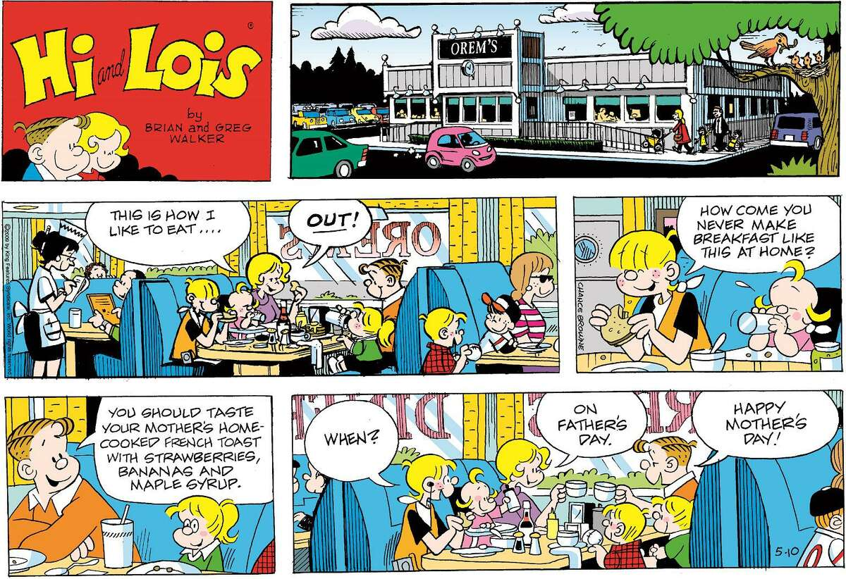 """A panel from the comic strip """"Hi and Lois"""" by Brian Walker will be on display at Wilton Library beginning Feb. 7."""