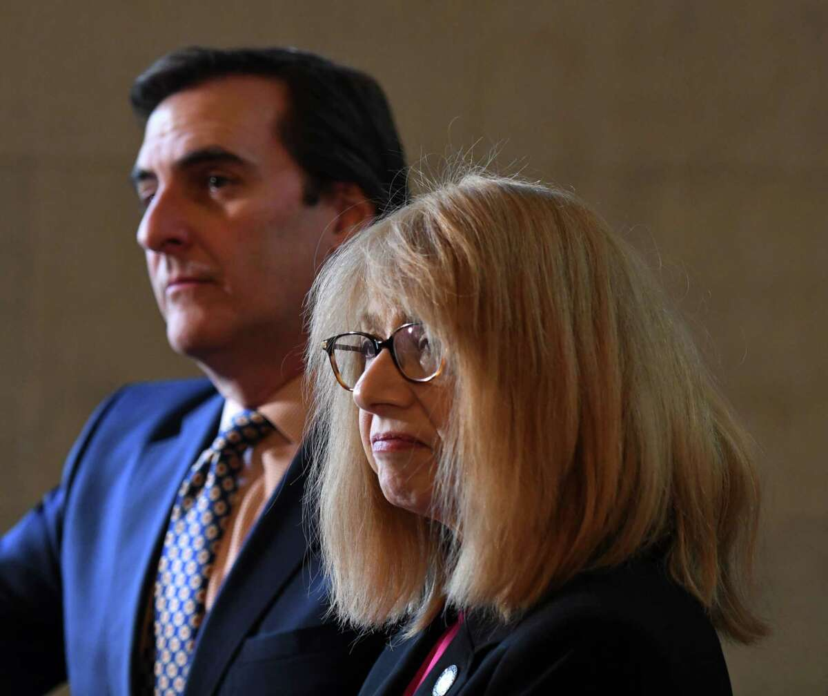 Senate Deputy Leader Michael Gianaris, left, and Assembly Member Linda Rosenthal answer questions during a press conference where Sen. Gianaris announced support for his anti-puppy mill legislation on Monday, Feb. 3, 2020, at the Capitol in Albany, N.Y. The bill would ban the sale of cats, dogs and rabbits in pet stores. (Will Waldron/Times Union)