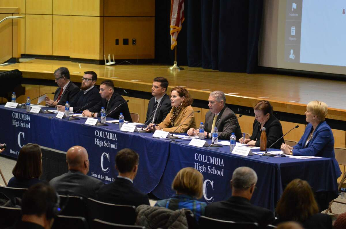 A panel of state assembly members and state senators participate in panel on state aid convened by 10 Capital Region school districts at Columbia High School in East Greenbush on Jan. 30, 2020.