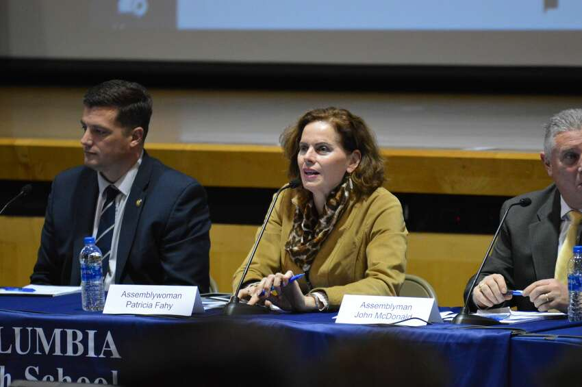 State Assembly members [L-R] Jake Ashby, Patricia Fahy, and John McDonald speak at panel on