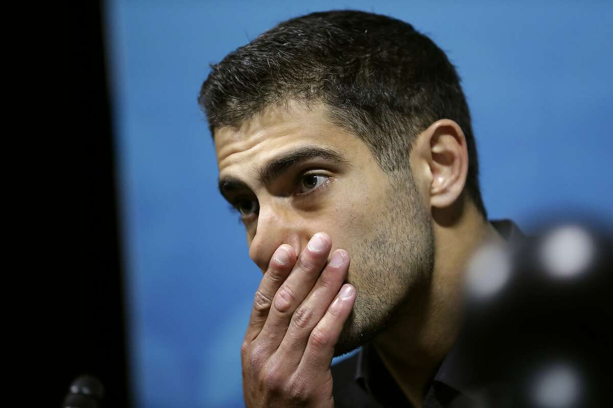 San Francisco 49ers quarterback Jimmy Garoppolo speaks during a news conference after the NFL Super Bowl 54 football game against the Kansas City Chiefs Sunday, Feb. 2, 2020, in Miami Gardens, Fla. (AP Photo/John Bazemore)
