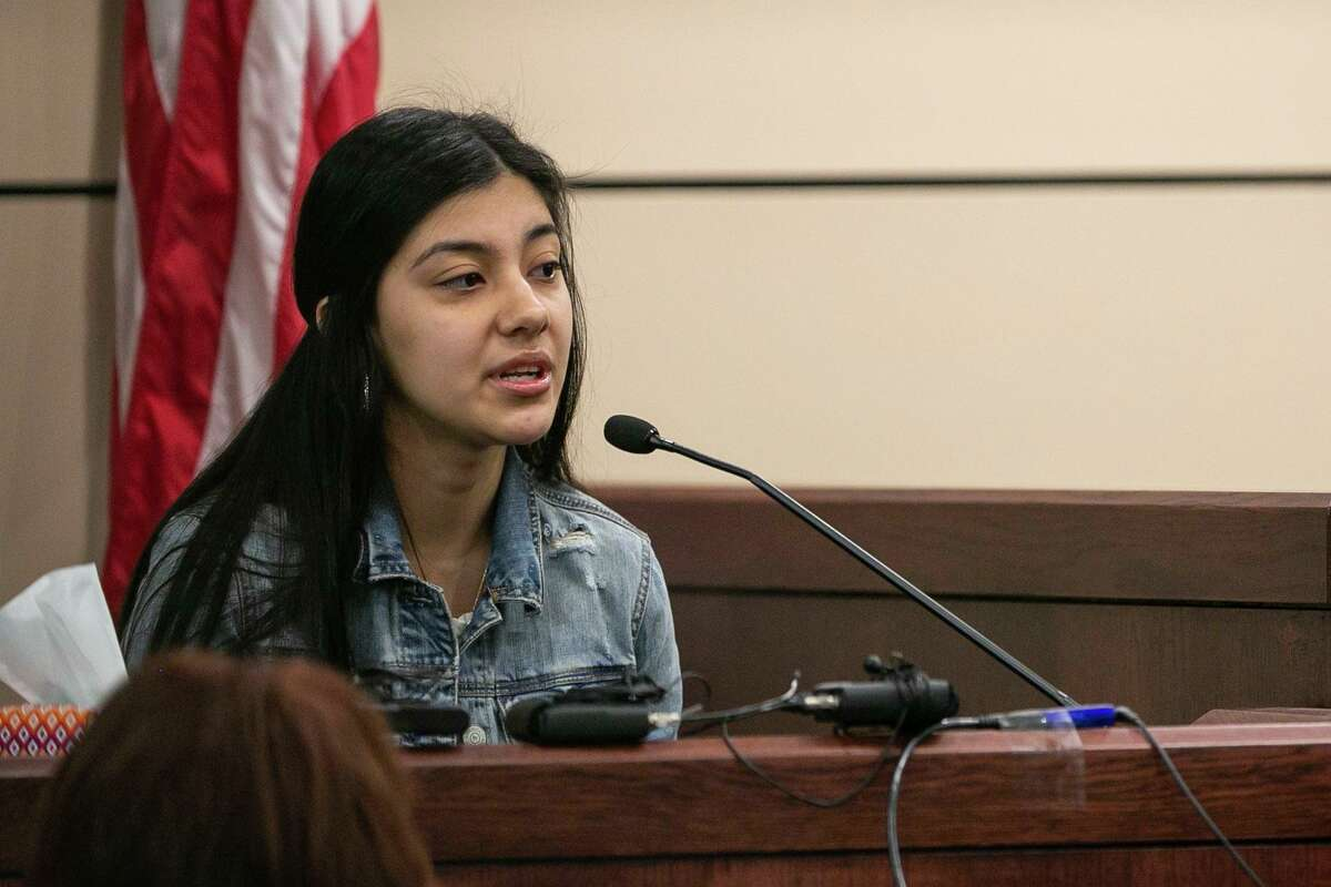 Alexandra Garza testifies in the 399th State District Court in the Cadena-Reeves Justice Center, Judge Frank J. Castro presiding, during the punishment phase of Anton Harris' trial following a conviction of rape on Feb. 3, 2020. Garza is Harris' former girlfriend.