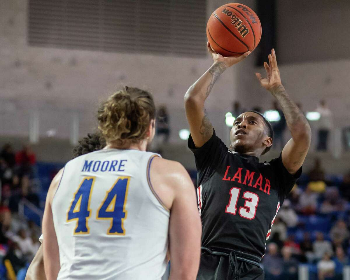 Davion Buster (13) puts up a another shot, part of his 39 total points in the game as the Lamar Cardinals headed to Lake Charles to take on the McNeese Cowboys on February 1, 2020. Fran Ruchalski/The Enterprise