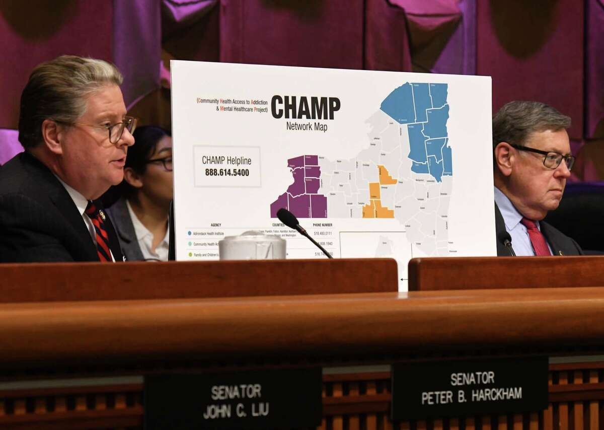 Sen. Peter Harckham, left, and Sen. James L. Seward, right, listen to testimony from New York State Office of Addiction Services and Supports Commissioner Arlene Gonz‡lez-S‡nchez on Monday, Feb. 3, 2020, during a joint legislative hearing on mental hygiene at the Legislative Office Building in Albany, N.Y. (Will Waldron/Times Union)