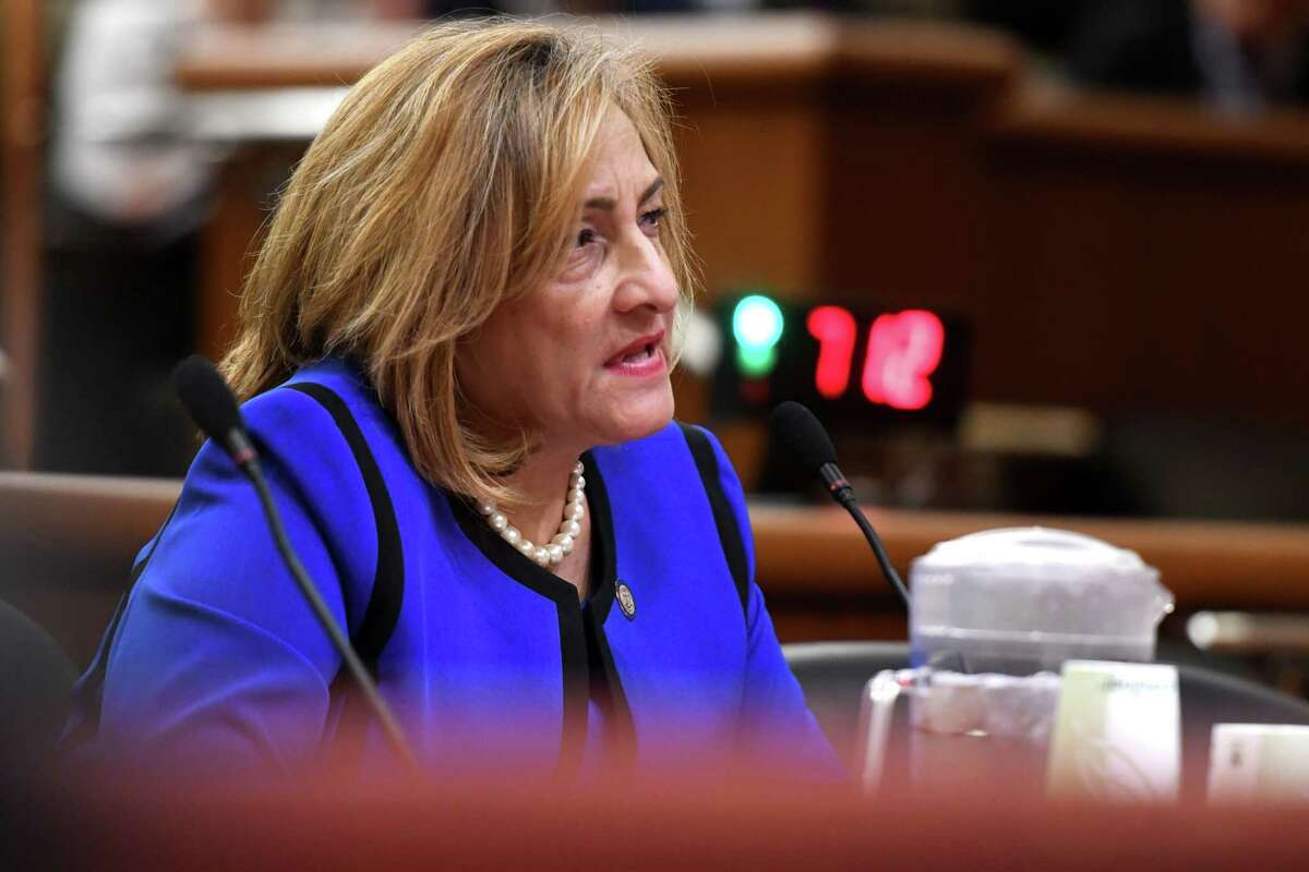 Arlene Gonzalez-Sanchez, commissioner of the New York State Office of Addiction Services and Supports, testifies during a joint legislative hearing on mental hygiene on Monday, Feb. 3, 2020, at the Legislative Office Building in Albany, N.Y. (Will Waldron/Times Union)